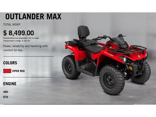 2018 Can-Am Outlander Max 450 Photo 2 of 8