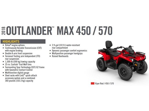 2018 Can-Am Outlander Max 450 Photo 5 of 8